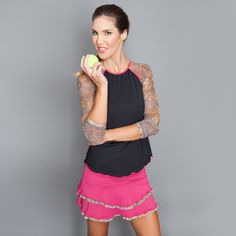 Long-sleeve Top by Denise Cronwall, Denise Cronwall Activewear Jewel Collection, #activewear, #tennis, #fitness, #workout, #apparel, #style, #fashion, #unique, #boutique, #training, #pants, #bra, #top, #designer, #skirt, #athleisure