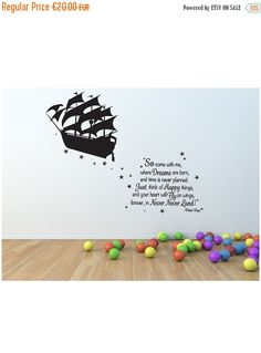 SALE Peter Pan wall decal pirate ship vinyl decal by Quirkyworks33