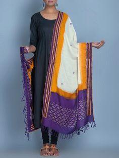 Buy Off-White Kora Cotton Banarasi Heavy Dupatta Online ...