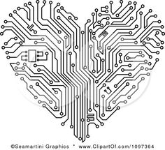 Clipart Black And White Circuit Board Heart - Royalty Free Vector Illustration by Seamartini Graphics