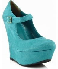 Delicious Kayla Suede Mary Jane Closed Toe Wedges TEAL