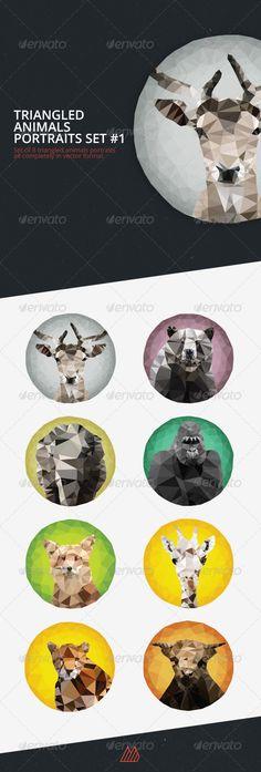 Triangled Animals Portraits Set #1 - Animals Characters