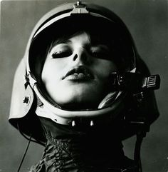 astronaut, black and white, celsius, cool, cosmo, costume, dark hair, face, female, feminine, fringe, futuristic, girl, grey, helmet, inspiration, lady, mask, motorcycle, old photo, photography, pilot, portrait, sexy, space, space suit, vintage, visual