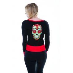 Cardigan Gilet Gothique Psychobilly Tattoo Skull