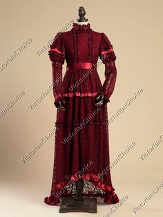 Edwardian Victorian Lace Christmas Holiday Gown Reenactment Theater Clothing 353 | eBay