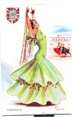 POST 69 - POSTAL NO CIRCULADA - ANDALUCIA 56 - TRAJE REGIONAL - ELSY GUMIEN -  F MOLINA - MADRID Spanish Dancer, Spanish Art, Flamenco Dancers, Disney Designs, Fashion Illustration Vintage, Chicano Art, Thinking Day, Sewing Art, Print Artist