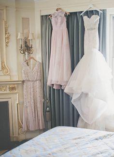 Getting ready photo // Lazaro bridal gown, Chinese wedding tea ceremony cheongsam qipao, and beaded reception dress