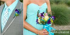 pretty flower ideas and i like the grey suit with the tiffany blue shirt, just add a coral tie and BOOM all set.