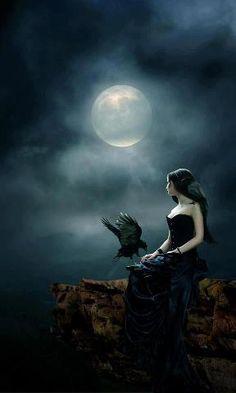Moonlight fantasy by Mary-Espen on DeviantArt Fantasy Magic, Gothic Fantasy Art, Fantasy World, Arte Obscura, Ange Demon, Goth Art, Beautiful Moon, Lovely Eyes, Dark Gothic