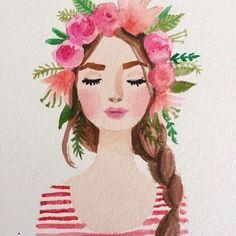 """Work by Kristine Brookshire #pretty #illustration #art #flowers #headband #floral"""