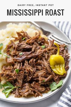 Mississippi pot roast is a popular dish that combines italian seaonings peperoncini and butter, cooked until it shreds apart into a juicy and tasty dish worthy of complimenting your mashed potatoes. While most of the time the recipe is slow cooked, this dairy free dinner recipe is made in an instant pot so you can have a quick/fast and easy pot roast at dinner without sacrificing quality! #instantpot #potroast Pot Roast Recipes, Entree Recipes, Beef Recipes, Family Recipes, Family Meals, Cooker Recipes, Instant Pot Dinner Recipes, Healthy Dinner Recipes, Easy Pot Roast