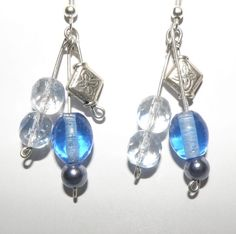 3 strand earrings with crystal, glass and metal beads by Beadls
