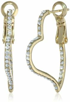 """Betsey Johnson Pink & Gold Boost"""" Pave Crystal Heart Hoop Earrings on shopstyle.com"""