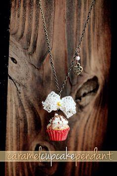 Items similar to Realistic cupcake pendant / cupcake jewelry / food jewelry / handmade jewelry / cupcake necklace / dollhouse food miniature / kawaii jewelry on Etsy Kawaii Jewelry, Cute Jewelry, Boot Jewelry, Jewellery, Caramel Cupcakes, Lace Bows, Miniature Food, How To Make Bows, Dollhouse Miniatures