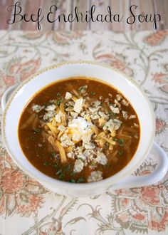 Beef Enchilada Soup {Slow Cooker} - stew meat, black beans and corn simmered in cheesy enchilada sauce