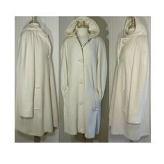 SOLD Women's Vintage Coat wool coat hooded coat long Parka #WhiteCoat #Womenswear #Vintage #Fashion #LongCoat #WoolCoat #VintageCoat #FormalCoat #MaxiCoat #HoodedCoat #BlanketCoat #Parka #Etsy