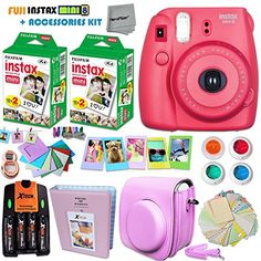 FujiFilm Instax Mini 8 Camera PURPLE + Accessories KIT for Fujifilm Instax Mini 8 Camera includes: 40 Instax Film + Custom Case + 4 AA Rechargeable Batteries + Assorted Frames + Photo Album + MORE | Camera Freaks