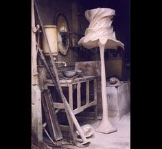 """Extraordinary plaster floor lamp """"Big James"""" with silk organza """"Bride"""" lampshade, photographed in the foundry by sculptor and lighting designer Hannah Woodhouse."""