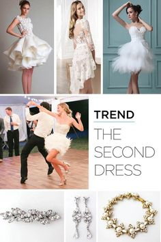 Second Wedding Dresses, Popular Wedding Dresses, Second Weddings, Freedom Of Movement, Hair Ornaments, Wedding Trends, Two By Two, Reception, Ballet Skirt