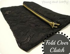 Young and Crafty: Fold Over Clutch Zipper Pouch Tutorial, Purse Tutorial, Bag Patterns To Sew, Sewing Patterns Free, Diy Gifts To Make, Best Leather Wallet, Learn To Sew, How To Make, Diy Clutch
