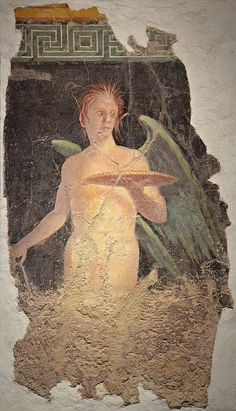 Fresco depicting a Winged genius holding a patera (sacrificial dish), from the north wall of the peristyle of Villa of P. Fannius Synistor at Boscoreale, 40–30 BC, Empire of colour. From Pompeii to Southern Gaul, Musée Saint-Raymond Toulouse | Flickr - Photo Sharing!