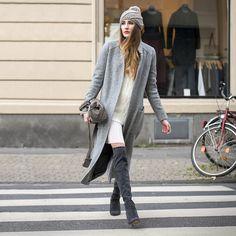 Peter Kaiser Overknee Boots, Mango Dress, Zara Knit Sweater, Zara Coat, Buffalo Bag, Beanie