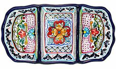 ! Three deep compartments work great for serving all your favorite dips, salsas or finger foods.  Each Talavera tray has been lovingly hand-crafted by the La Cupula ceramic studio of Puebla, Mexico, and will gracefully highlight any dining table or serving area. As always, every piece of authentic Mexican Talavera offered by La Fuente Imports is 100% lead free, chip resistant, as well as microwave, oven, and dishwasher safe!