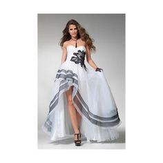 Clarisse prom dress 1504 - Black and white high low formal ball gown |... ($399) ❤ liked on Polyvore