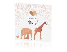 Trendy koper, hartjes en wilde dieren op een lief geboortekaartje voor een meisje.