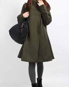 Dream  Army green Wool overcoat 4 color by MaLieb on Etsy, $116.00