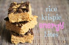 Rice Krispie Energy Bites - crispy rice cereal, almond butter, honey, and protein powder combined to make a delicious and healthy snack!