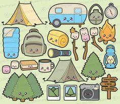 Shades of Kawaii: A Cute Colouring Book Camping Clipart, Kawaii Drawings, Cute Drawings, School Doodle, Griffonnages Kawaii, Kawaii Doodles, Clip Art, Vector Clipart, Cute Stickers