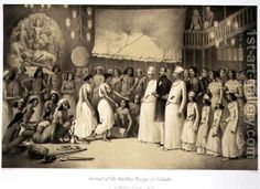1858 engraving by Rudder, Dourga festival in Calcutta