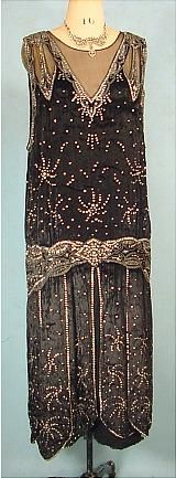 c. 1923 Exquisite Black Velvet Flapper Gown with Rhinestones and Beading