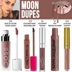 #MOON DUPES ARE HERE I can't promise these will be exact replicas but from comparing and studying swatches of these colors to Kylie's, these were the closest I found. Please let me know what color from her Fall Lipkits you want me to dupe next! #allintheblush #makeupslaves #trendmood #vegas_nay #makeup #beauty #hudabeauty #slave2beauty #insta_makeup #norvina #glamrezy #amrezy #makeupartist #motd #mua #makeupaddict #wakeupandmakeup #dupethat #kyliecosmetics #kyliejenner #dupe #lipstick