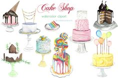 Watercolor Clip Art - Cakes by Maria B. Paints on Creative Market