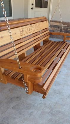 Awesome Farmhouse Porch Swing Decor Ideas What's not to love about a front porch swing? Few things add as much curb appeal, and even fewer do it… Continue Reading → Bench Swing, Pergola Swing, Diy Pergola, Pergola Kits, Pergola Roof, Pergola Ideas, Wooden Swing Bench, Railing Ideas, Swing Seat