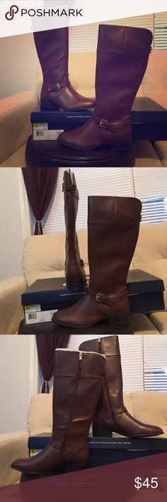 ❗️SOLD❗️BRAND NEW BROWN LEATHER RIDING BOOTS Perfect for fall, these (BRAND NEW) riding boots will be perfect with jeans, dresses, skirts- whatever you want. They have never been worn, I actually forgot I had them and just found them while packing. Chaps Shoes Heeled Boots