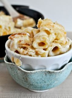 Mouth-wateringly creamy, fabulously filling looking Four Cheese Baked Skillet Rigatoni.