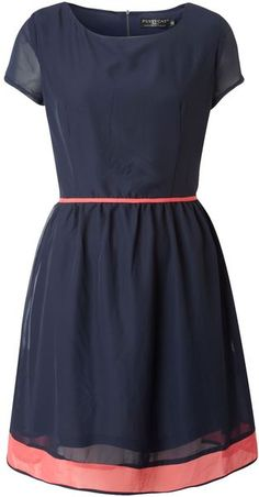 Navy dress with pink accents. Cute!!