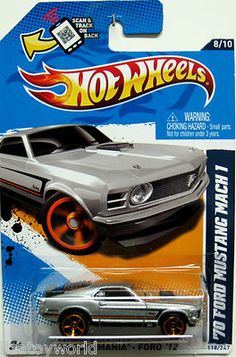 1970 Ford Mustang Mach 1 Hot Wheels 2012 MUSCLE MANIA-FORD 8/10 Silver Toys R US