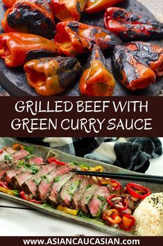 Who doesn't love an easy grilled beef recipe? This Grilled Beef with Green Curry Sauce will be on rotation in your kitchen for years to come. Tender beef, char-grilled bell peppers, and a fiery sauce are a flavor bomb in your mouth! This is the perfect summer cookout recipe and it's so quick to the table, you can easily add it to your busy weeknight recipe options too! #easydinnerrecipe #healthydinnerrecipe #healthygrilledrecipes Easy Asian Recipes, Beef Recipes For Dinner, Delicious Dinner Recipes, Entree Recipes, Summer Recipes, Flank Steak Recipes, Easy Steak Recipes, Healthy Grilling Recipes, Cooking Recipes