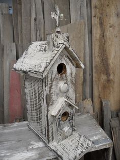 Vintage two story church birdhouse. Rustic Church with distressing technique.  Functional birdhouse.. $65.00, via Etsy.