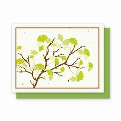 Ginkgo Landscape - 4 Pack ~  This elegant Ginkgo branch reaches across the card beautifully. Perfect for any occasion!  Inside of each card is blank for you to write a special message!  Each card is embedded with a colorful array of Wildflower seeds.