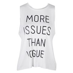 Vogue Issue T Shirt found on Polyvore featuring tops, shirts, tank tops, t-shirts, white, round top, white top, pattern tops, print shirts and white shirt