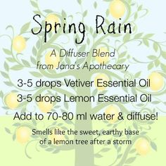 I looooove all things vetiver & lemon! Why didn't I ever think to combine these two?! Spring Rain essential oil diffuser blend