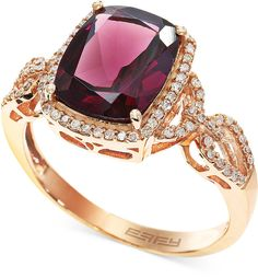 Bordeaux by EFFY Rhodolite (3-3/8 ct. t.w.) and Diamond (1/4 ct. t.w.) Ring in 14k Rose Gold on shopstyle.com