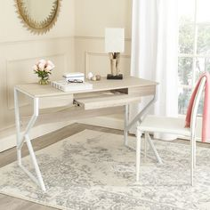 Safavieh Bryant Natural Top/ White Legs Computer Desk