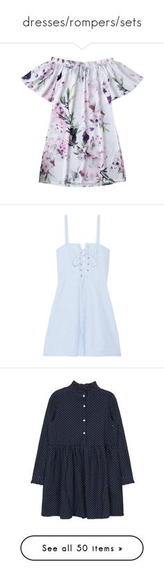 """dresses/rompers/sets"" by vegetariansoup on Polyvore featuring dresses, vintage pattern dress, white dresses, print dress, vintage flower dress, white print dress, vestidos, short dresses, blue and stripe dress"