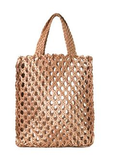 Donna Karan Spring 2015 Spring Accessories New York◆◇◆◇◆◇◆ Could make this out of recycled plastic bags ~! Crochet Market Bag, Crochet Tote, Crochet Handbags, Crochet Purses, Filet Crochet, Mode Crochet, Net Bag, Macrame Bag, Tote Pattern